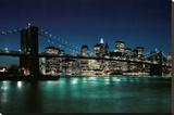 New York City (Brooklyn Bridge & Night Skyline, 2007) Photo Print Poster Stretched Canvas Print