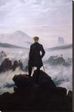 Wandelaar boven zee van mist Kunst op gespannen canvas van Caspar David Friedrich