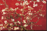 Almond Blossom - Red Stretched Canvas Print by Vincent van Gogh
