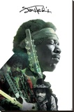 Jimi Hendrix- Double Exposure Stretched Canvas Print