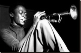 Miles Davis- Sitting With Trumpet Stretched Canvas Print