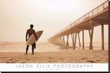 Jason Ellis In the Mist Surfer on Beach Art Print Poster Stretched Canvas Print