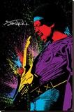 Jimi Hendrix- Neon Burst Opspændt lærredstryk
