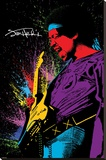Jimi Hendrix- Neon Burst Stretched Canvas Print