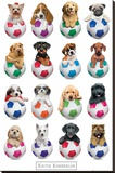 Keith Kimberlin Puppies - Footballs Bedruckte aufgespannte Leinwand von Keith Kimberlin