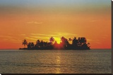 Sunny Island (Tropical Photo) Art Poster Print Stretched Canvas Print