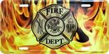 Fire Dept w/Flames Tin Sign