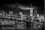 New York Freedom Tower - black and white Opspændt lærredstryk