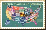 Smithsonian - United Stamps Of America Stretched Canvas Print