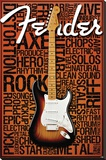 Fender Words Stretched Canvas Print