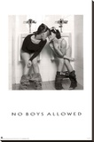 No Boys Allowed Two Hot Girls in the Men's Room Sexy Photo Poster Print Stretched Canvas Print