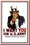 I Want You - Uncle Sam Stretched Canvas Print