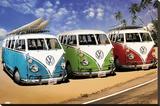 Campers VW sur la plage Toile tendue sur châssis