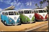 VW CAMPERS Stretched Canvas Print