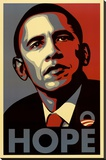 Barack Obama (Hope, Shepard Fairey Campaign) Art Poster Print Stretched Canvas Print