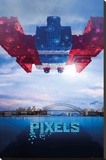 Pixels Galaga Stretched Canvas Print