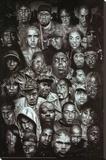 Rap Gods (Rapper Collage) Music Poster Print Sträckt kanvastryck