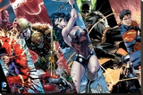 Justice League- Heroic Panels Stretched Canvas Print