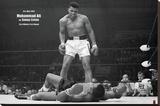 Muhammad Ali gegen Sonny Liston Bedruckte aufgespannte Leinwand