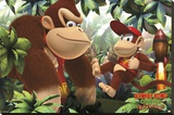 Donkey Kong & Diddy Kong Stretched Canvas Print