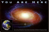 Classic You Are Here Galaxy Space Science Poster Print Stretched Canvas Print