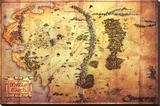 The Hobbit: An Unexpected Journey - Map Of Middle Earth Kunst op gespannen canvas