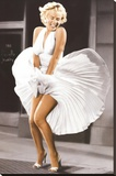 Marilyn Monroe - Seven Year Itch, White Dress, Color Stretched Canvas Print