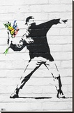 Banksy- Rage, Flower Thrower Stretched Canvas Print by  Banksy