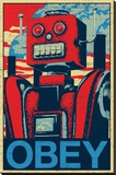 Robot Obey Stretched Canvas Print