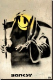 Smiling Reaper Banksy Stretched Canvas Print
