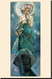 The Moon Stretched Canvas Print by Alphonse Mucha