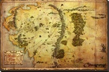 The Hobbit-Map Stretched Canvas Print