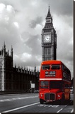 London - Red Bus Stretched Canvas Print