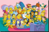 The Simpsons Sofa Cast Stretched Canvas Print