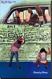 Cheech & Chong- The Pigs Grafitti Bedruckte aufgespannte Leinwand