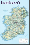 Map of Ireland Stretched Canvas Print