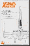 Star Wars The Force Awakens- X Wing Plans Stretched Canvas Print