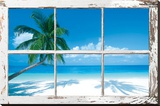 Tropical Beach Window Stretched Canvas Print