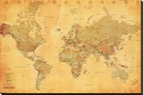 World Map - Vintage Style Stretched Canvas Print