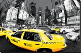 Rush Hour Times Square - Yellow Cabs Stretched Canvas Print