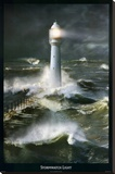 Lighthouse and Stormy Sea Stretched Canvas Print by Steve Bloom