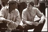 The Shawshank Redemption Movie (Tim Robbins and Morgan Freeman, B&W) Poster Print Stretched Canvas Print