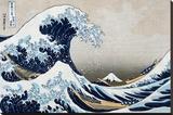"""Den store bølge ved Kanagawa, fra """"36 views of Mount Fuji"""", ca.1829 Opspændt lærredstryk af Katsushika Hokusai"""