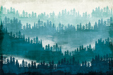 Mountainscape Blue Posters av Michael Mullan