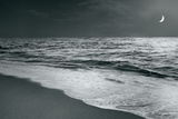 Moonrise Beach Black and White Posters by Sue Schlabach