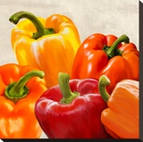 Peppers Stretched Canvas Print by Remo Barbieri