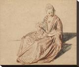 Seated Woman with a Fan Opspændt lærredstryk af Jean-Antoine Watteau