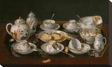 Still Life: Tea Set Opspændt lærredstryk af Jean-Etienne Liotard