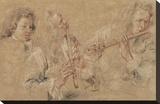 Two Studies of a Flutist and a Study of the Head of a Boy Opspændt lærredstryk af Jean-Antoine Watteau
