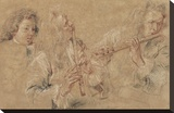 Two Studies of a Flutist and a Study of the Head of a Boy Stretched Canvas Print by Jean-Antoine Watteau